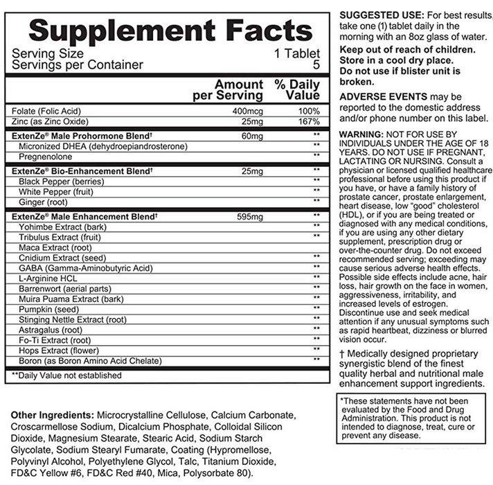 ingredients extenze plus