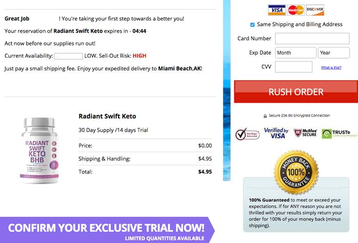order Radiant Swift Keto trial