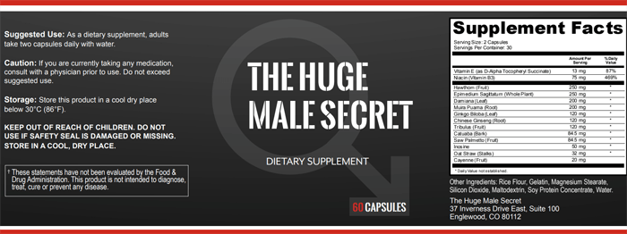 Huge Male Secrets Ingredients