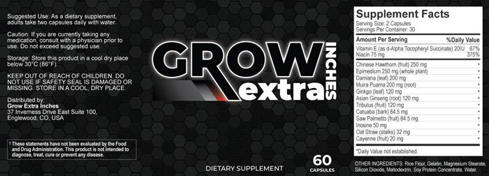 Grow Extra Inches Supplement Ingredients