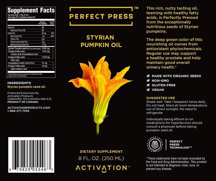 Perfect Press Styrian Pumpkin Oil Label