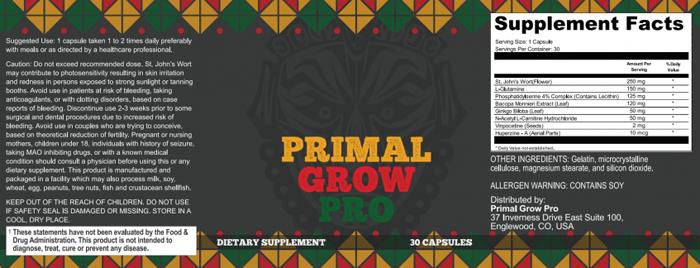 Primal Grow Pro ingredients